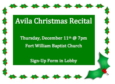 Avila Christmas Recital